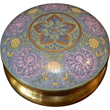 """Exquisite Large 6 ¾"""" Dresser Box ~ Art Deco ~ Bavarian Porcelain ~ Hand Painted with Raised Enamel  ~ Peacock and Flower Design ~ Signed B Brown 1914 ~ Favorite Bavaria"""
