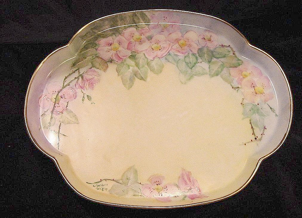 50% OFF! Attractive Dresser Tray ~ Limoges Porcelain ~ Hand Painted with Wild Pink Roses ~ Artist Signed & Dated ~PL limoges France 1905-1930