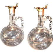 2 ~ Wonderful Hand Blown Decanters Set with Sterling Silver Spout and Lid ~ Engraved on Bottom Robert Love Paris ~ Amsterdam