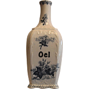 Fantastic Oil (Oel) Bottle ~ French Faience / Majolica ~ Pattern FLORE ~ UTZCHNEIDER & CO – SARREGUEMINES France late 1800's