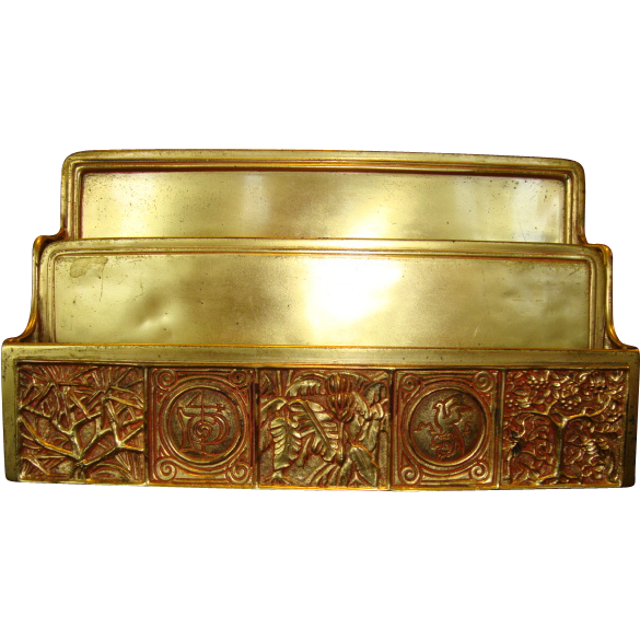 Tiffany Gilded Bronze Desk Letter / Envelope Holder ~Bookmark Pattern #1020 ~ Tiffany Studios New York Early 20th Cent