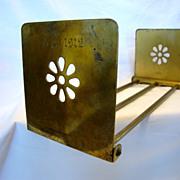 Nice Adjustable Bronze Book Rack ~ Art Deco Flower Design ~ Monogram & Dated 1912 Bradley and Hubbard Manufacturing Company Meriden, Connecticut 1856-1949