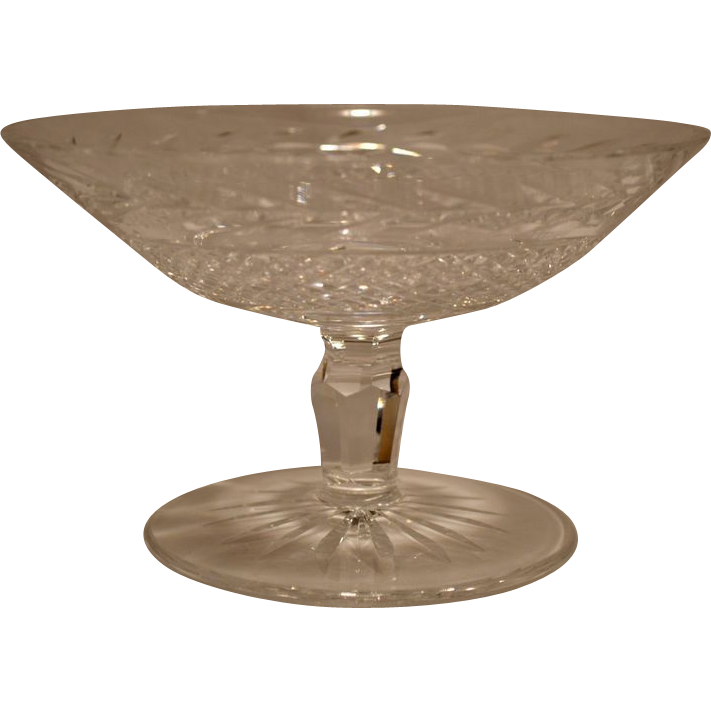 "Beautiful Irish Cut Crystal ~ Waterford Dessert Compote 6 ¼"" W~ Glandore Pattern ~ Waterford Ireland 1976"