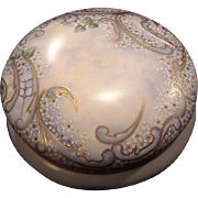 "Exquisite 7 3/4"" Austrian Bon Bon Jar / Dresser Box ~ Artist Signed & Dated ~ Hand Painted with White Enamel Flowers ~ OE&G Royal Austria ~Oscar and Edgar Gutherz, Austria 1899-1918"