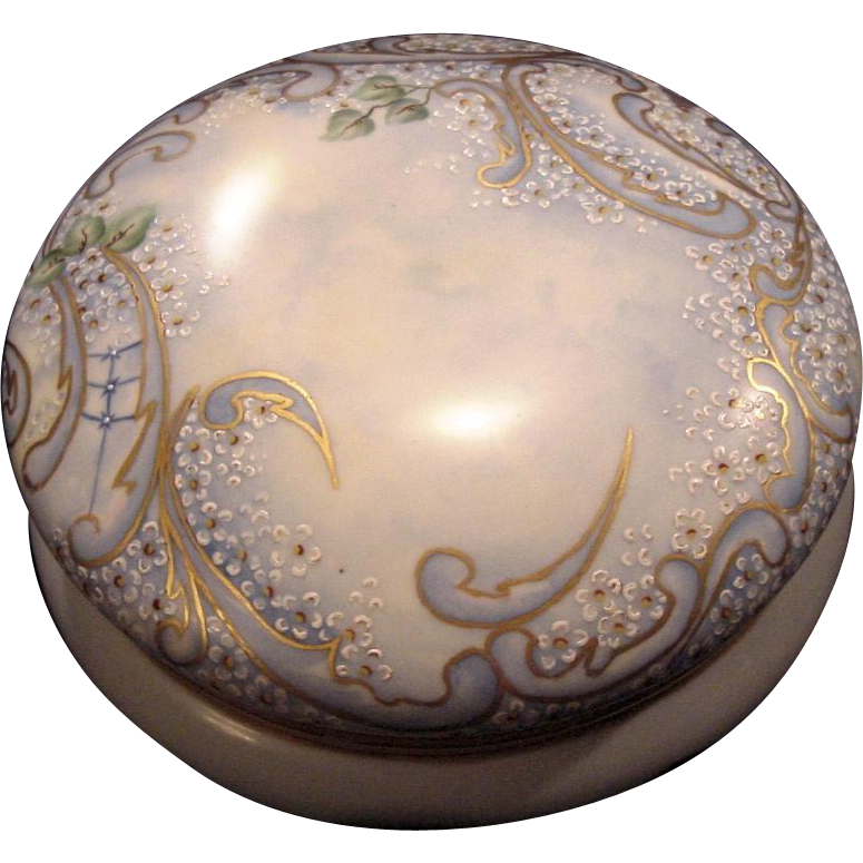 "50% OFF!  Exquisite 7 3/4"" Austrian Bon Bon Jar / Dresser Box ~ Artist Signed & Dated ~ Hand Painted with White Enamel Flowers ~ OE&G Royal Austria ~Oscar and Edgar Gutherz, Austria 1899-1918"