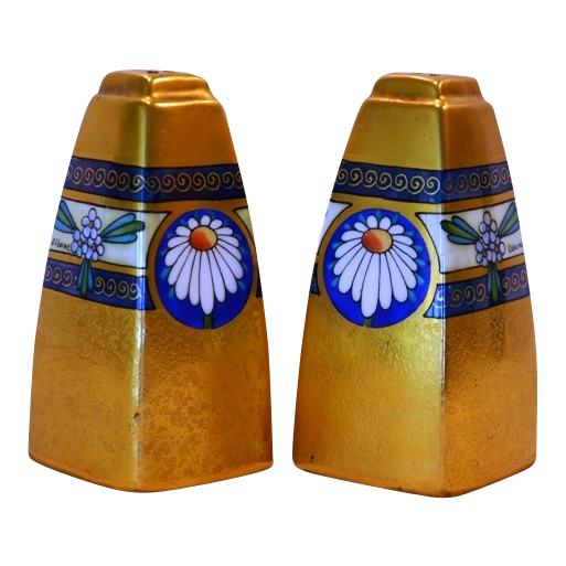 "Wonderful Salt & Pepper Shakers ~ ""Encrusted Linear"" Daisy Motif ~ Signed Osborn ~ Osborn Art Studios Chicago IL 1913-1918"