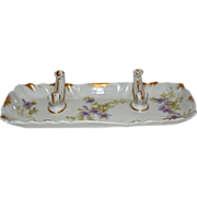 Awesome Pen Rest ~ Limoges Porcelain ~ Decorated with Wispy Purple Flowers ~ Charles Field Haviland / Gerard Dufraisseix & Morel Limoges France 1888-1896
