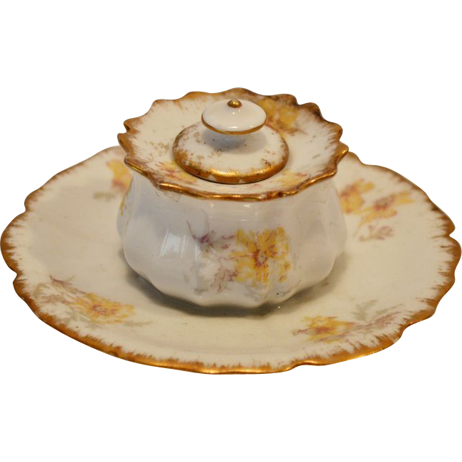 Awesome Inkwell ~ Limoges Porcelain ~ Factory Decorated with Yellow Floral Transfers ~ Charles Field Haviland / Gerard  Dufraisseix & Morel Limoges France 1891