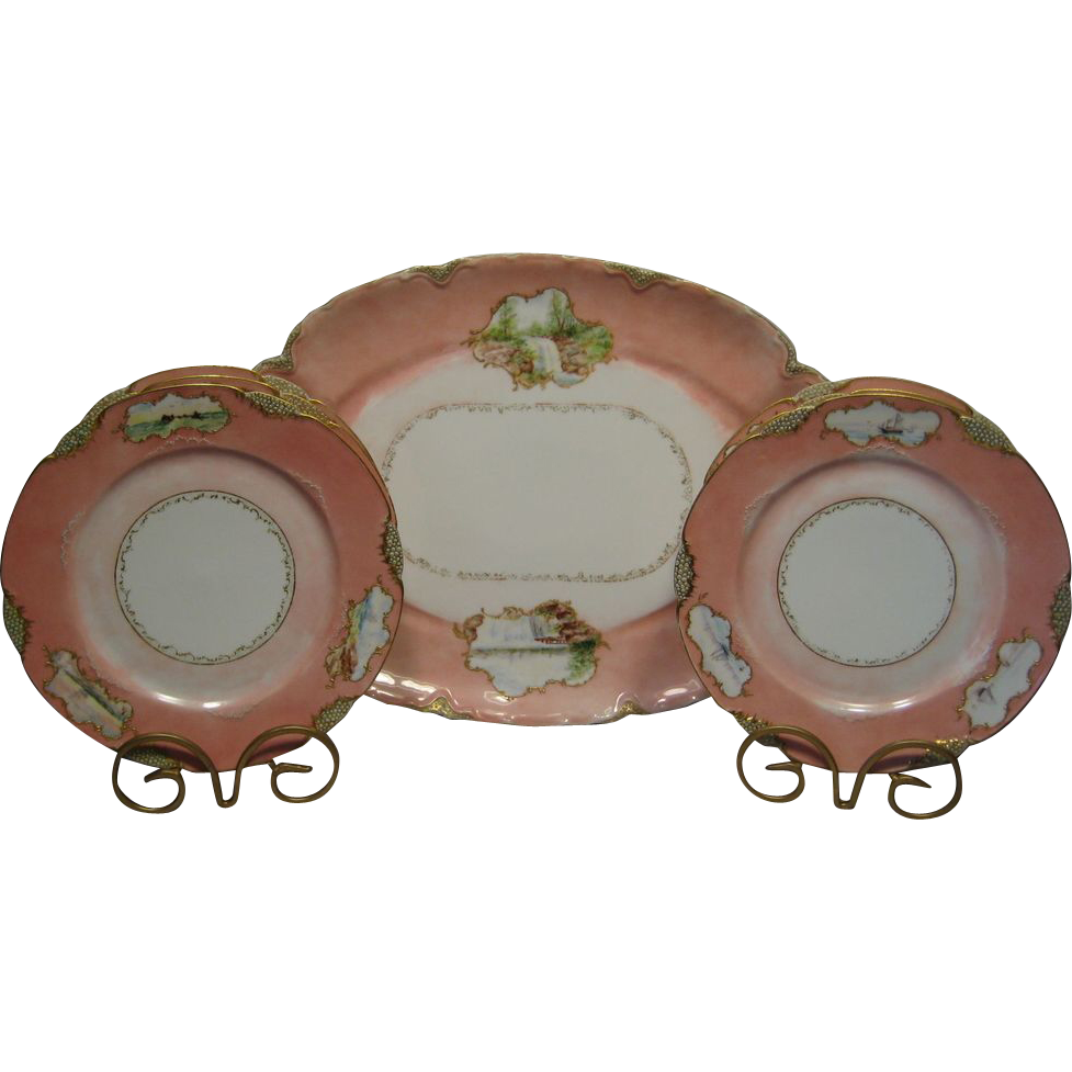 "Gorgeous Fish / Game 7 piece set ~ Platter 20"" Plates 9 ¾""~ Ranson Blank ~ Limoges Porcelain ~ Hand Painted by Carrie Conley 1887 ~ Haviland & Co / Charles Field Haviland  / Gerard Dufraisseix Morel Limoges France"