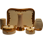 Beautiful 9 Piece Porcelain Dresser / Vanity Set ~ Hand painted with Gold –Tressemann & Vogt Limoges France/ Favorite Bavaria / Nippon  1900-1930