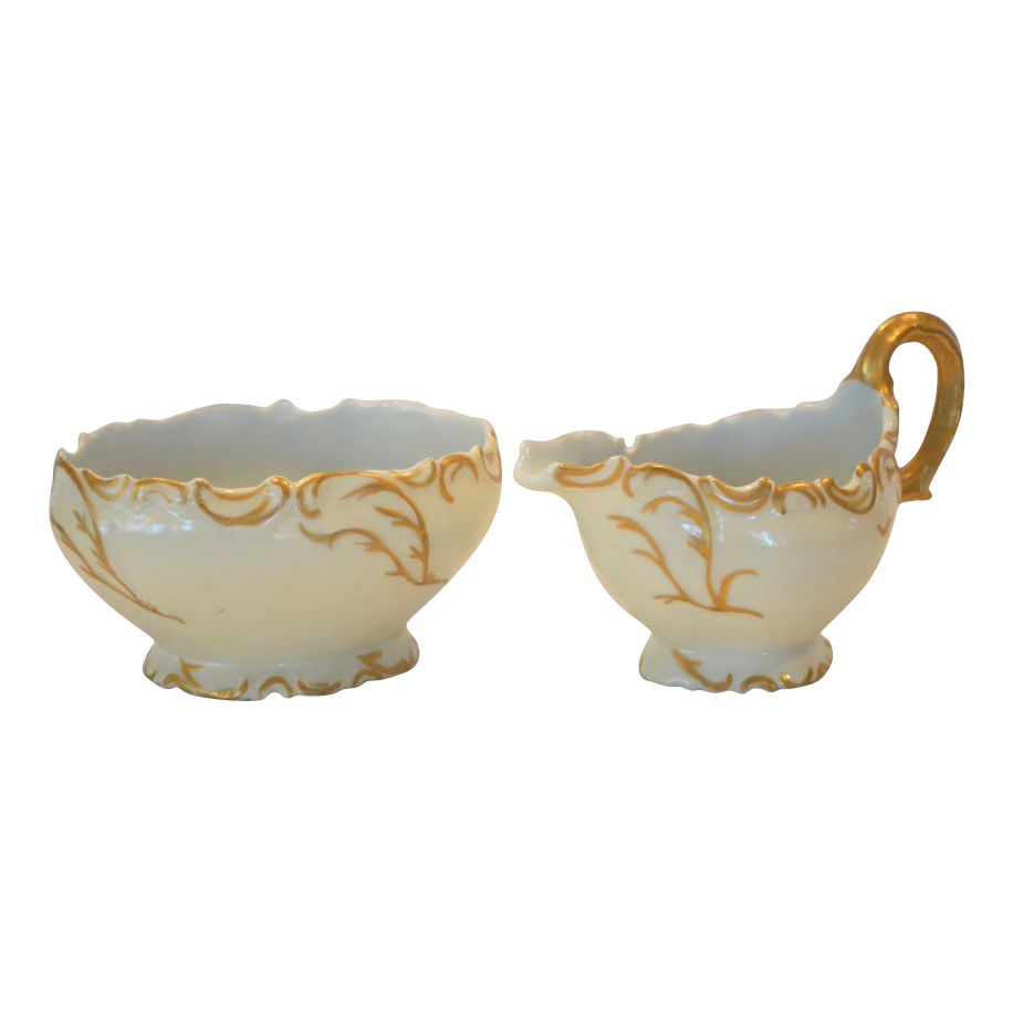 Fantastic Antique Limoges Porcelain Creamer and Sugar ~ Elite / Laviolette Limoges France 1890-1905