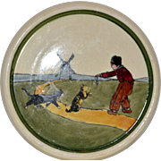 MISC768: Adorable Trivet / Pot Holder ~ Hand Painted with Dutch Man & Cats ~ Made in Austria