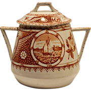 Wonderful  Reddish Brown English Aesthetic Covered 1 LB Sugar Jar ~ Phileau Pattern ~ Shore Line with Boats ~  CW Turner & Sons Tunstall England 1873-1895 - Red Tag Sale Item