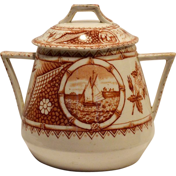 Wonderful  Reddish Brown English Aesthetic Covered 1 LB Sugar Jar ~ Phileau Pattern ~ Shore Line with Boats ~  CW Turner & Sons Tunstall England 1873-1895