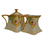 Beautiful Antique Limoges Creamer and Sugar Set ~ Hand Painted with Yellow Roses by Duval ~ A. Lanternier Limoges France 1891+