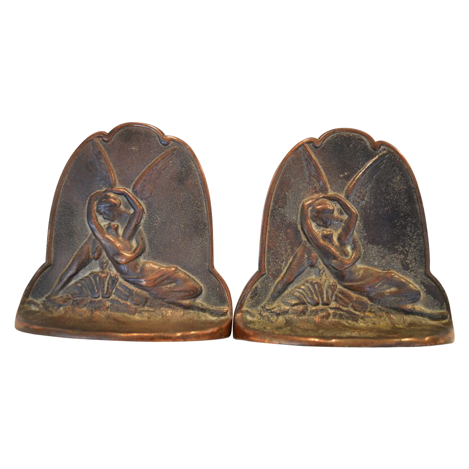 Classic Set of Copper bookends with Cupid and Psyche ~ attributed to Connecticut Foundry Rocky Hill CT 1920's