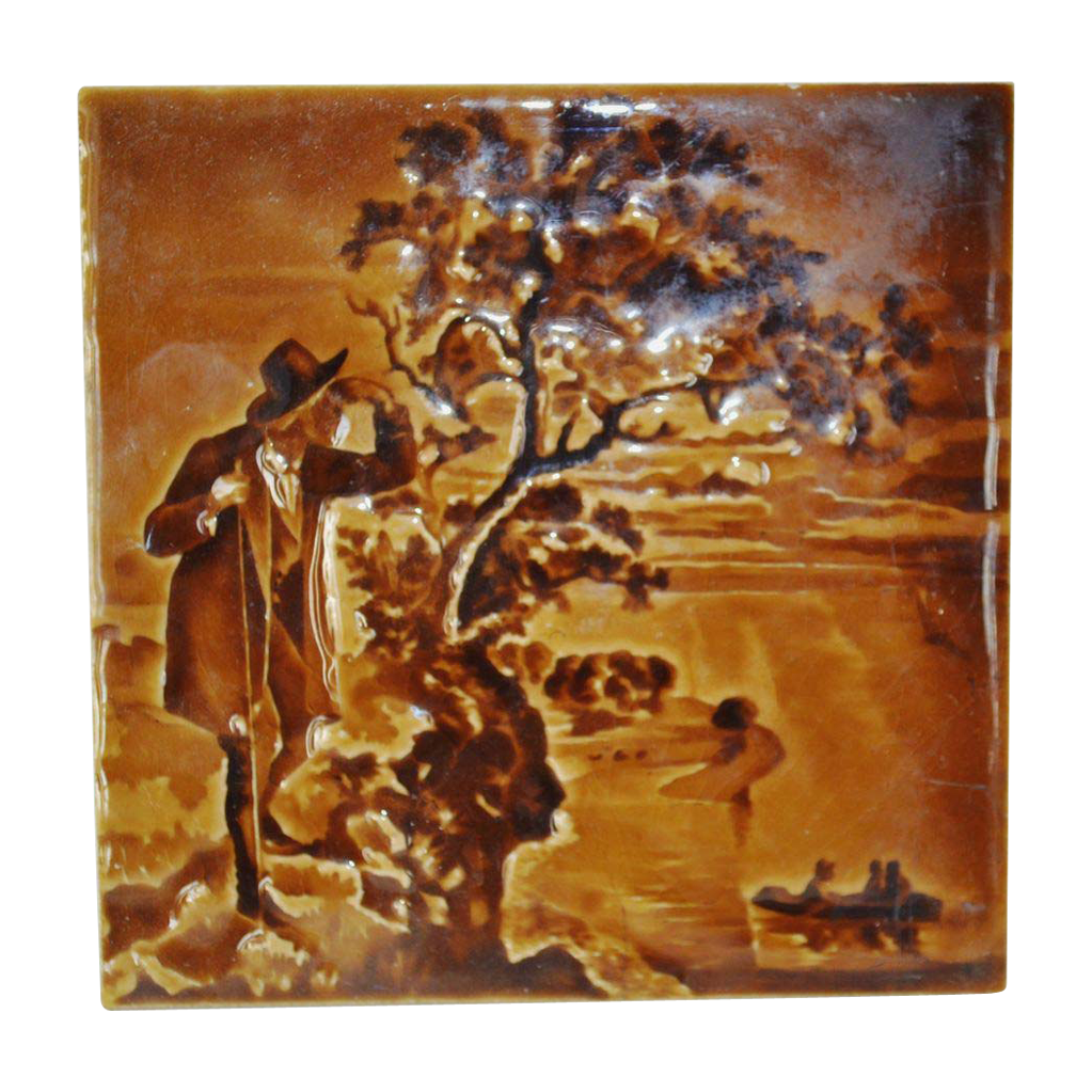Amazing Majolica Tile in a Deep Brown Color Glaze ~ Impressed Relief Image of a Victorian Gentleman ~ American Encaustic Tiling Company Zanesville OH 1890's