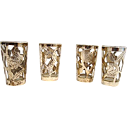 4 Nice Sterling Silver Overlay on Glass ~ Cordials or Shot Glasses ~ .925 MEXICO