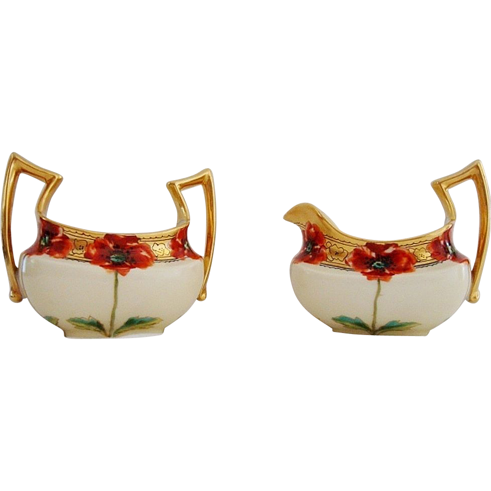 Exquisite Large Limoges Creamer & Sugar Set ~ Hand painted with Poppies ~ by John Loh (Poppy John ) ~Tressemann & Vogt Limoges France / Pickard Studios Chicago IL 1898-1903