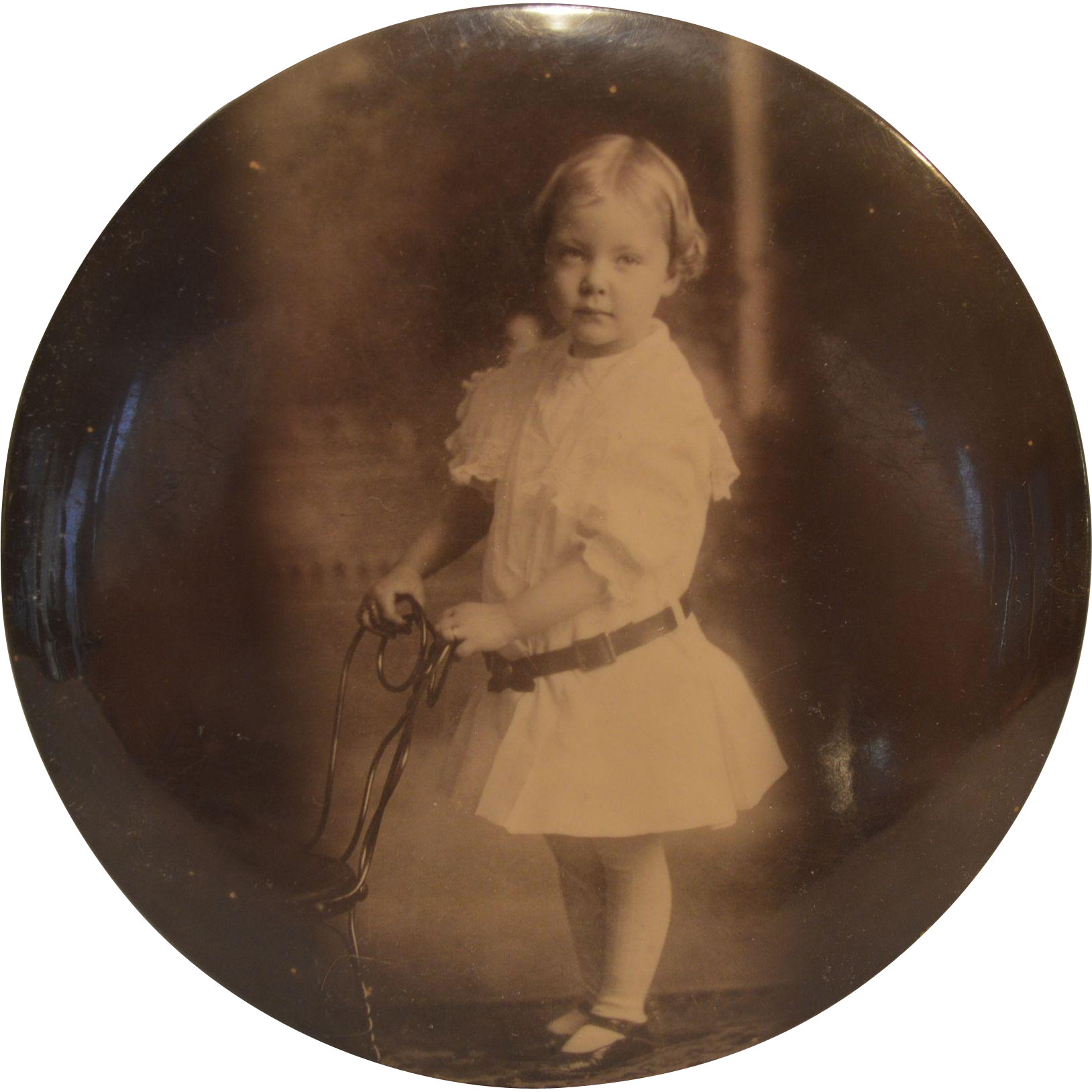 Vintage Celluloid Photographic Medallion Adorable Baby Columbia Medallion Studios Chicago Photographic Button, Plaque 1910's