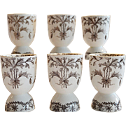 Set of 6 Double Egg Cups ~ Brown Aesthetic Flowered Transferware  Early 1900's