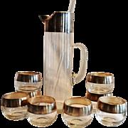 8 Vintage Silver Rimmed Roly Poly Cocktail /Juice Glasses, Pitcher & Stirrer Bar Set ~ Mid Century 1950's