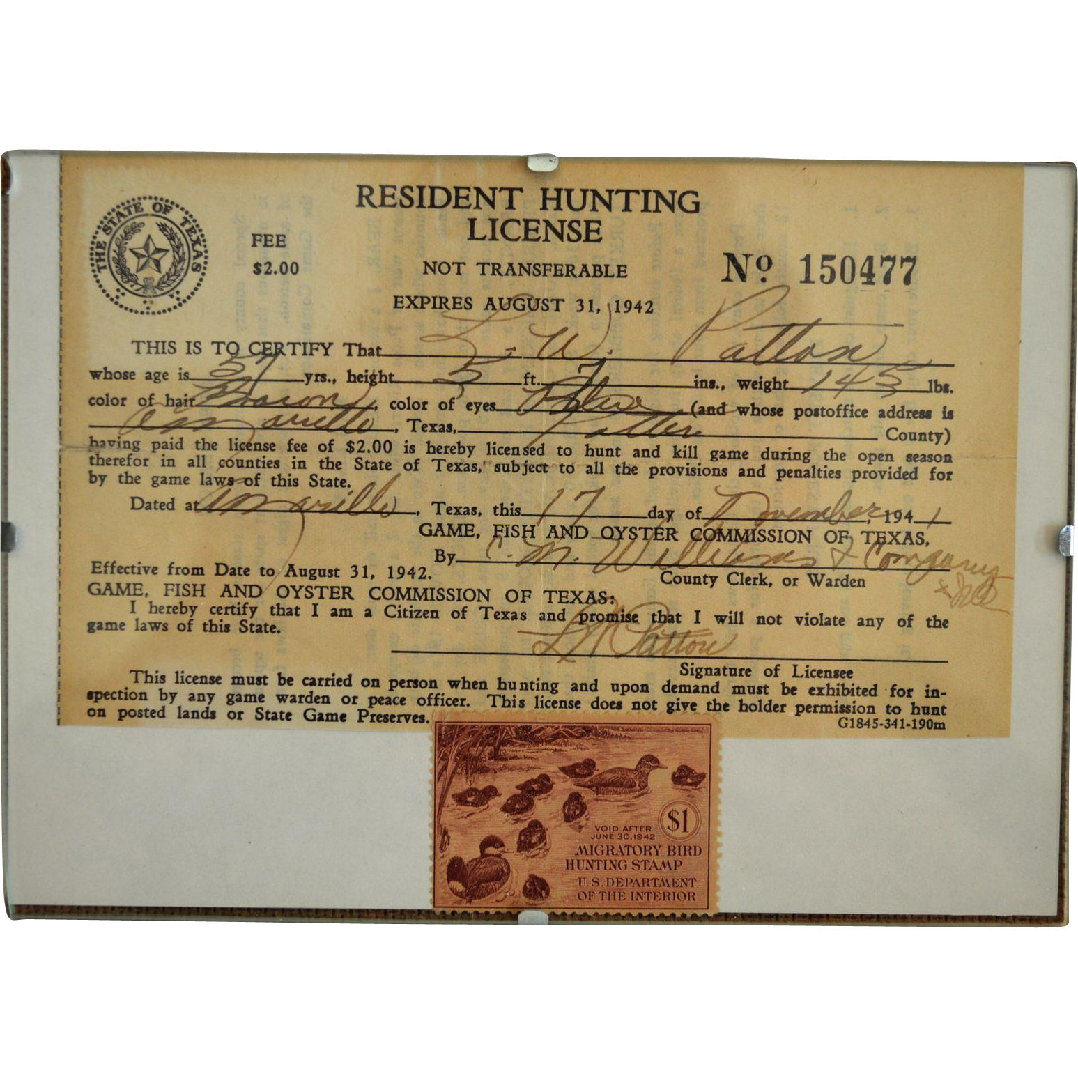 1941 texas hunting license unused migratory bird hunting for Hunting fishing license