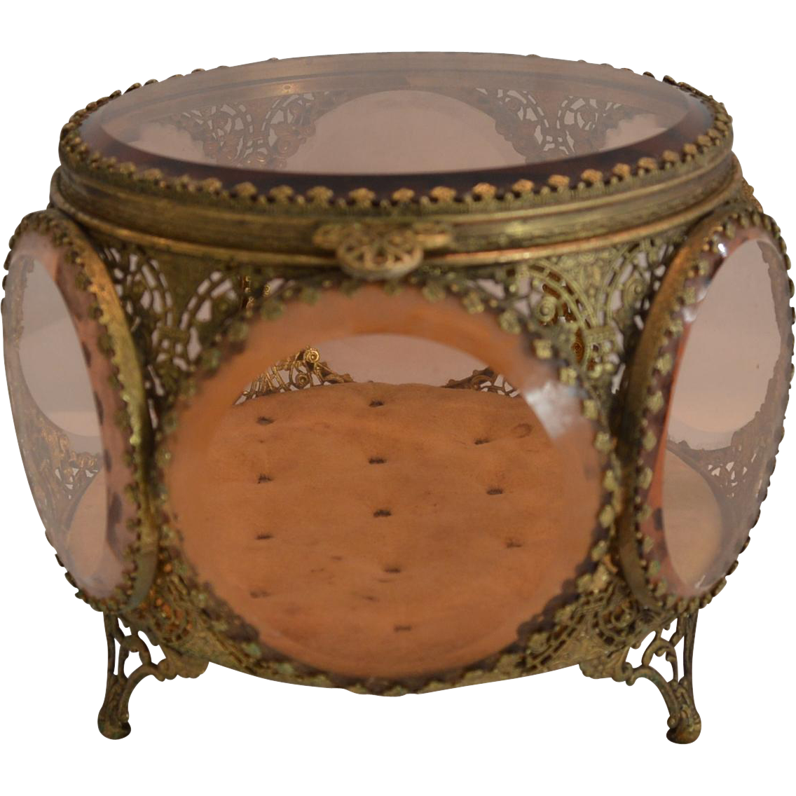 Antique Jewelry Box Casket Round with lid 6 Sided with Amber