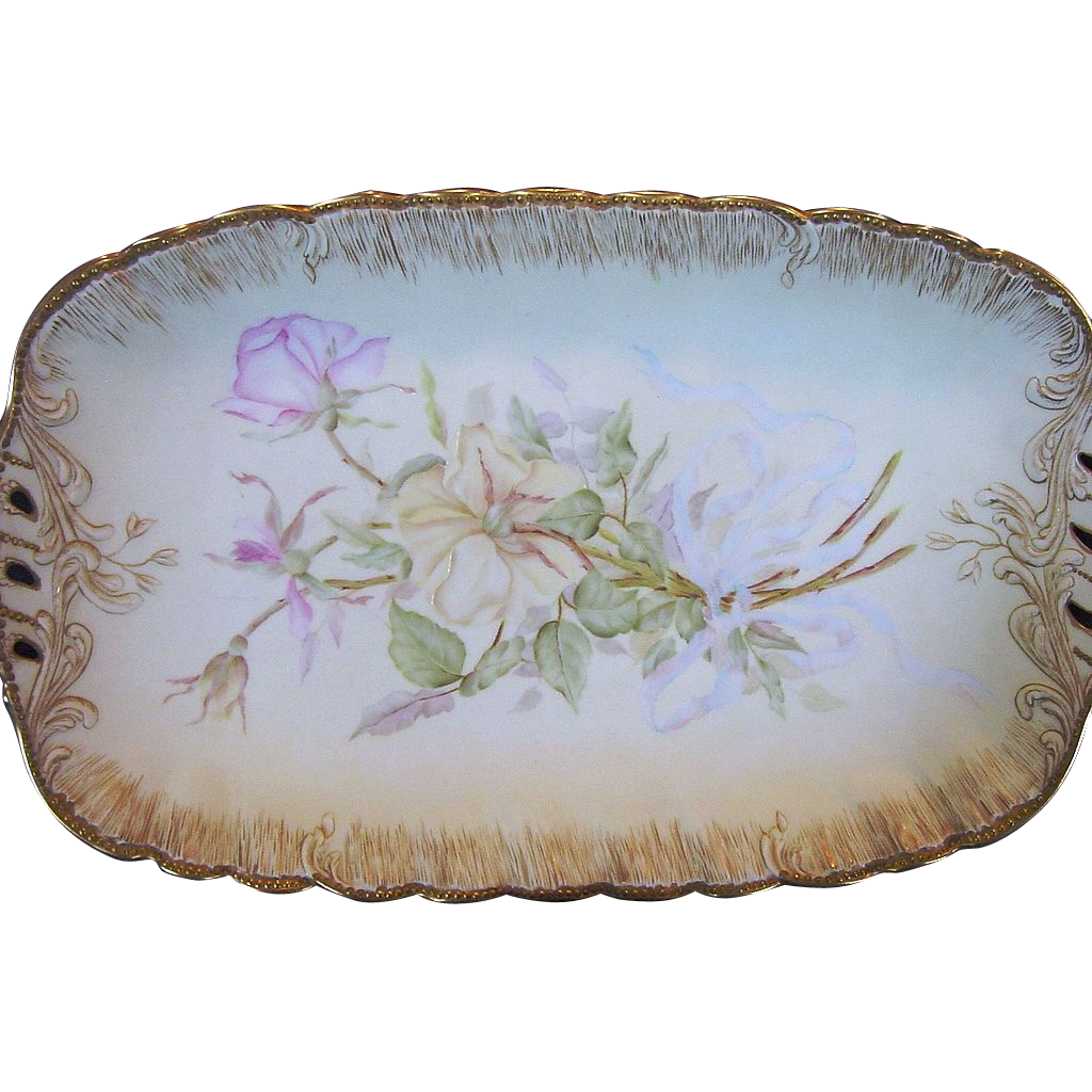 Magnificent Limoges Porcelain Ice Cream Tray / Bowl ~ Hand Painted with Yellow and Pink Roses on Matte Finish ~Martial Redon 1891-1896