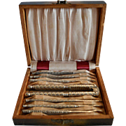 Set of 6 Nut Picks and Cracker in Silk lined Box ~ HMO 1920-1940's