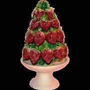 Topiary ~ Italian Majolica Strawberry  ~ Mid Century ~ Hand Painted ~ Made in Italy 1950's