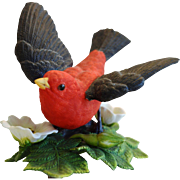 Scarlet Tanager Figurine ~ Lenox Garden Bird Sculpture 1992