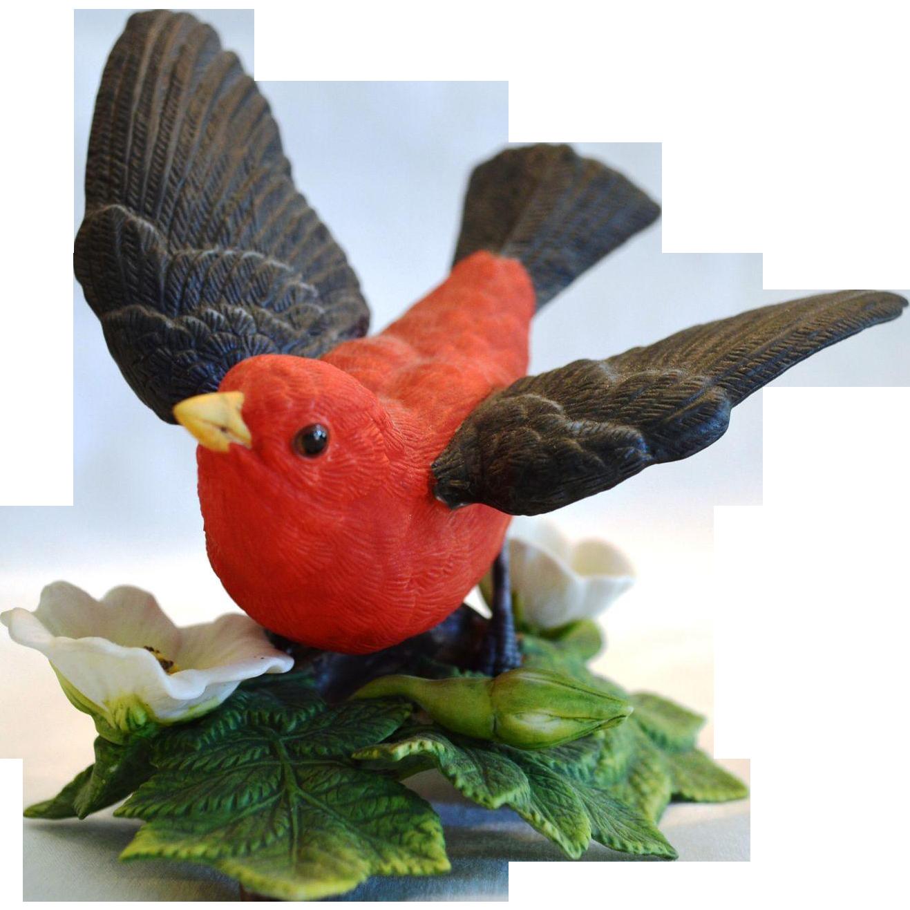 Scarlet Tanager Figurine ~ Lenox Garden Bird Sculpture 1992