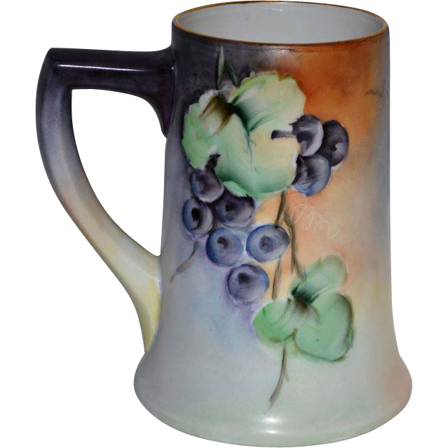50% OFF! Large Limoges Porcelain ~ Mug / Stein / Tankard ~ Hand Painted with a Vibrant Purple Grape Motif – Artist Signed –  La Porcelaine Limousine 1905-1930