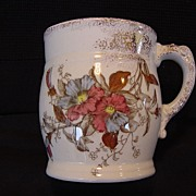 Awesome Polychrome English Shaving Mug ~ Red and Blue Petunia ~ Cumberlidge & Humphreys ~ 1880 – 1889