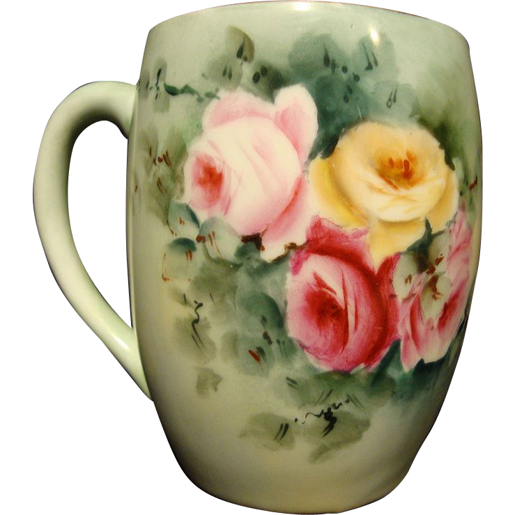Dainty Limoges Porcelain Mug ~ Hand Painted with Pink & Yellow Roses ~ Tressemann & Vogt ( T&V ) 1892-1907