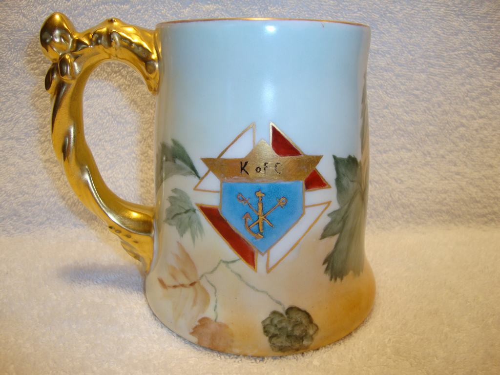 Handsome Limoges Porcelain Mug ~ Hand Painted with Hops and Knights of Columbus Emblem ~ Jean Pouyat  JPL France ~ 1890-1932