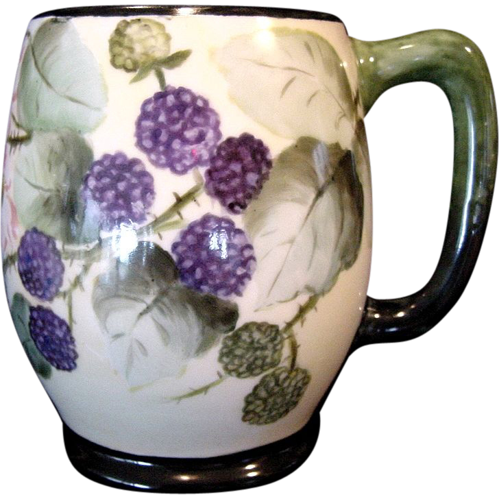 Large Limoges Porcelain ~ Mug / Stein / Tankard ~ Hand Painted with a Wonderful Blackberry Motif ~ Jean Pouyat  JPL France 1890-1932