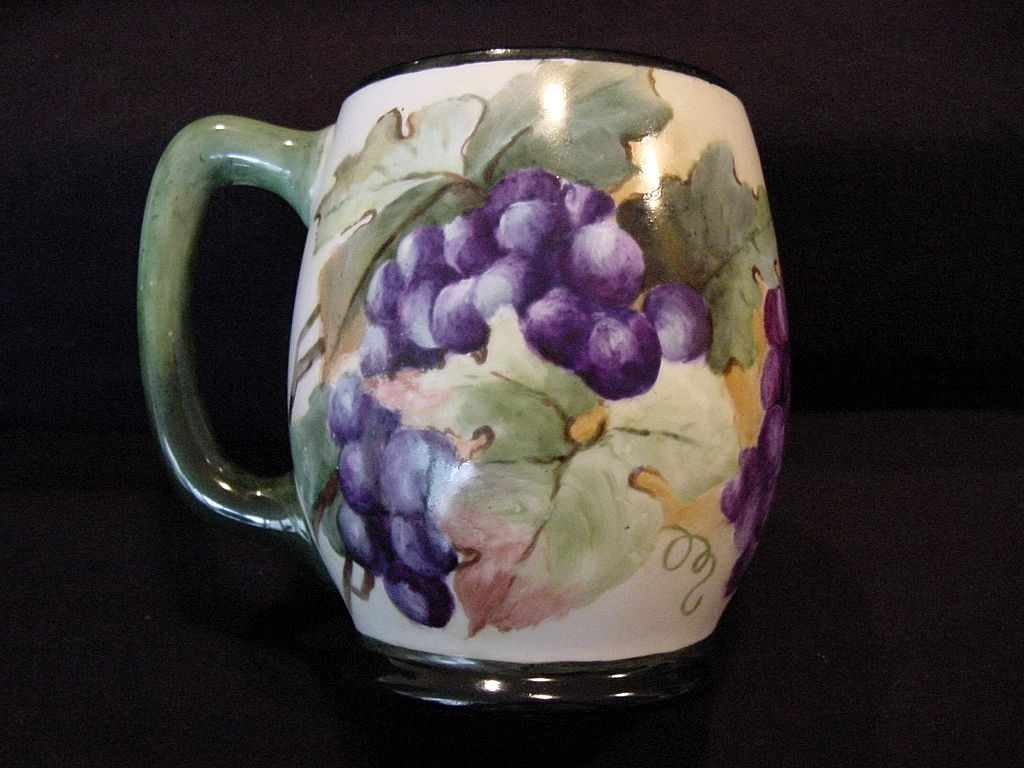 Large Limoges Porcelain ~ Mug / Stein / Tankard ~ Hand Painted with a Vibrant Purple Grape Motif – Jean Pouyat JPL France 1890-1932