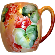 Beautiful Limoges Porcelain Mug ~ Hand Painted with Ripe Currants~ Signed