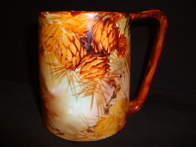 Earthy Austrian Porcelain Mug / Stein ~ Hand Painted with Pinecones~ Artist Signed ~ Imperial Austria Pfeiffer & Lowenstein Bohemia 1914-1918