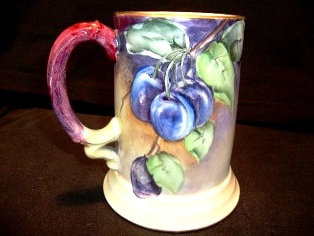 Colorful Limoges Porcelain Mug ~ Hand Painted with Purple Plums ~ Artist Signed ~ Jean Pouyat JPL France 1890-1932