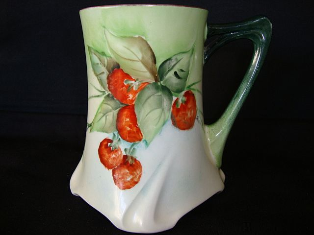 Wonderful Limoges Porcelain Mug / Tankard ~ Hand Painted with Strawberries ~ Artist Signed ~ Jean Pouyat Limoges France April 24 1907