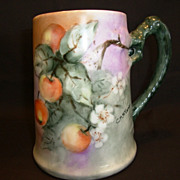 SUPERB Bavarian Porcelain Mug ~ Hand Painted with Ripe Crabapples ~ Artist Signed CM McCormick ~ Heinrich & Co (H & CO) Selb Bavaria 1890+