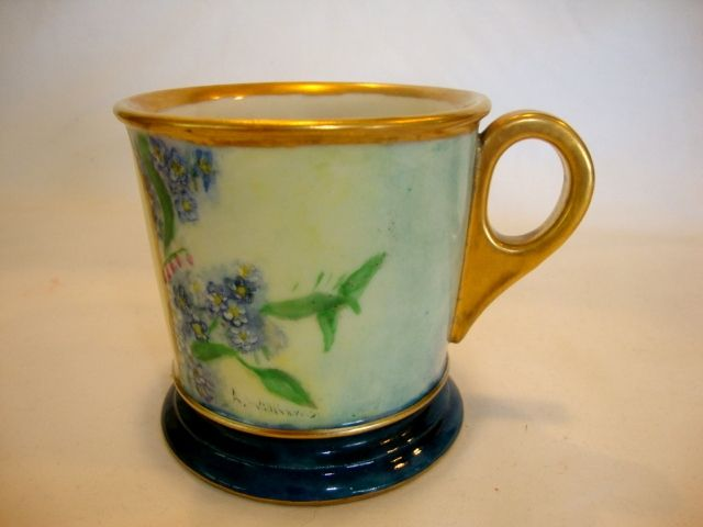 Beautiful Shaving Mug ~Limoges Porcelain~ Hand Painted with Blue Forget me Nots ~ Monogrammed with 'W'  ~ Artist Signed / Dated ~ William Guerin Limoges France 1900-1932