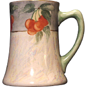 Beautiful Limoges Porcelain Mug / Stein / Tankard ~ Hand Painted with Pearl Luster and Cherries ~ Artist Signed ~ JPL Jean Poyaut 1890-1932