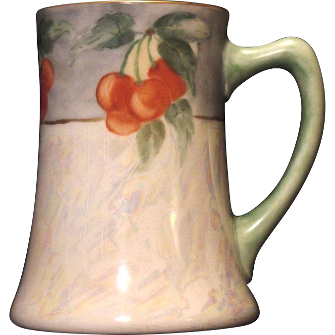50% OFF!  Beautiful Limoges Porcelain Mug / Stein / Tankard ~ Hand Painted with Pearl Luster and Cherries ~ Artist Signed ~ JPL Jean Poyaut 1890-1932