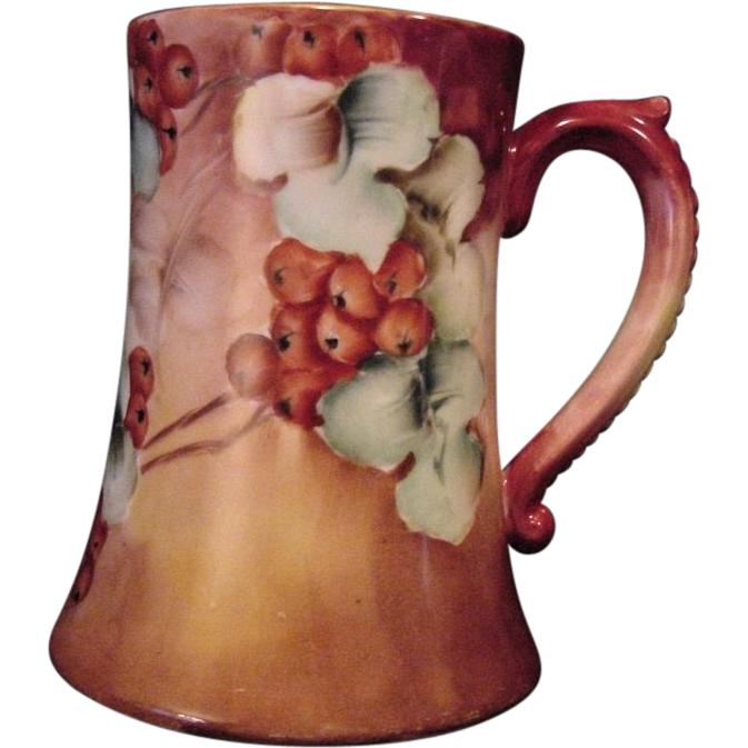50% OFF!  Large Limoges Porcelain ~ Mug / Stein / Tankard ~ Hand Painted with a Wonderful Ripe Red Currant Motif – Artist Signed – Jean Pouyat JPL ~ 1891-1932
