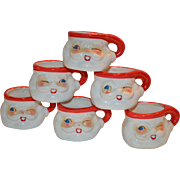 Six Small Vintage Mugs ~ Santa Winking  ~ Holt Howard 1960