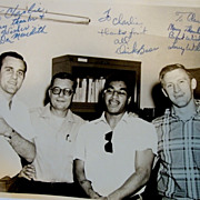 Photo of 1967 NFL Stars, Armed Forces USO Tour. Autographed by Don Meredith, Dick Bass and Larry Wilson. B&W 8x10 Original.